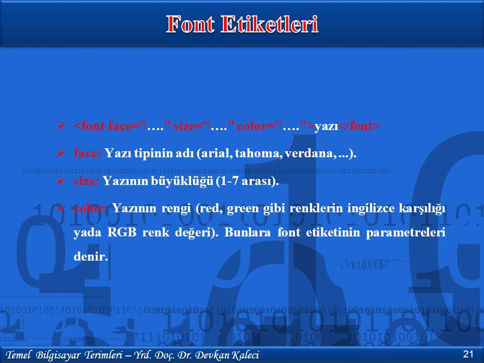 Font Etiketleri <font face= …. size= …. color= …. >yazı</font> face: Yazı tipinin adı (arial, tahoma, verdana, ...).