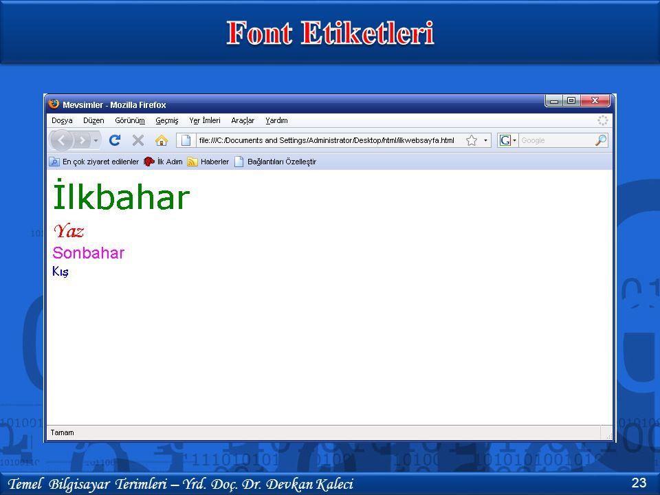 Font Etiketleri Temel Bilgisayar Terimleri – Yrd. Doç. Dr. Devkan Kaleci