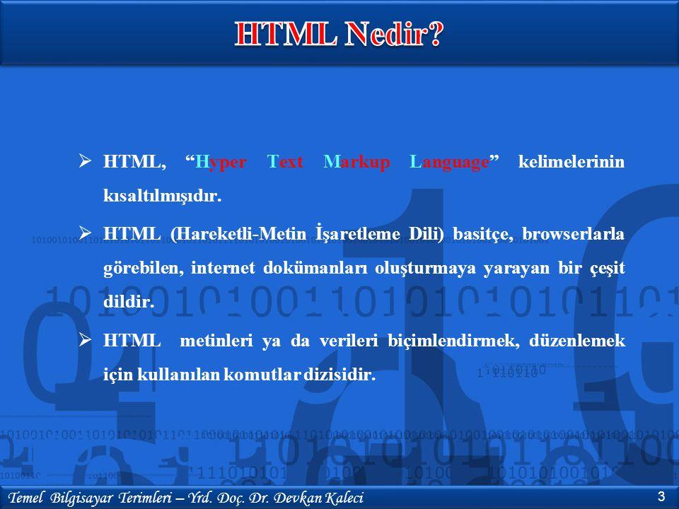 HTML Nedir HTML, Hyper Text Markup Language kelimelerinin kısaltılmışıdır.