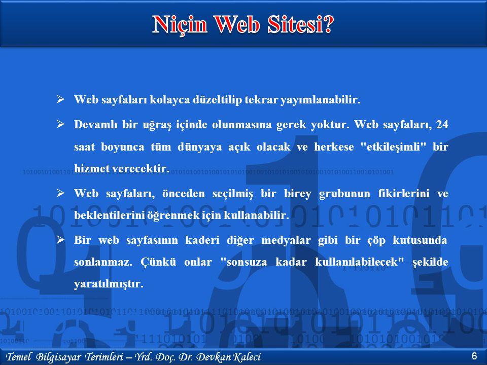 Niçin Web Sitesi Web sayfaları kolayca düzeltilip tekrar yayımlanabilir.