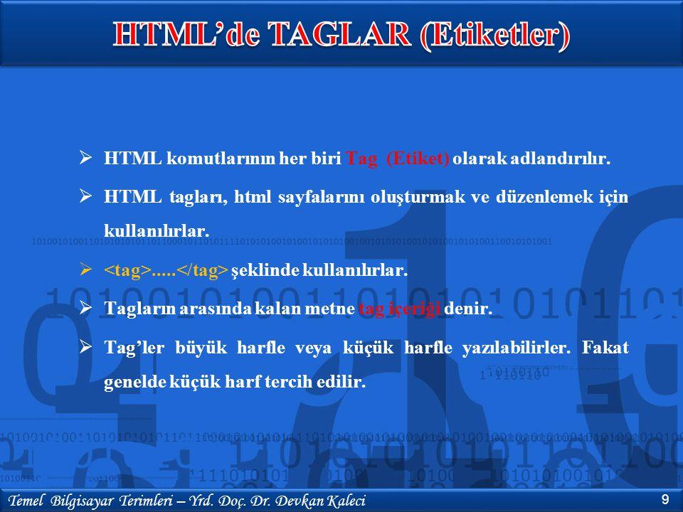 HTML'de TAGLAR (Etiketler)