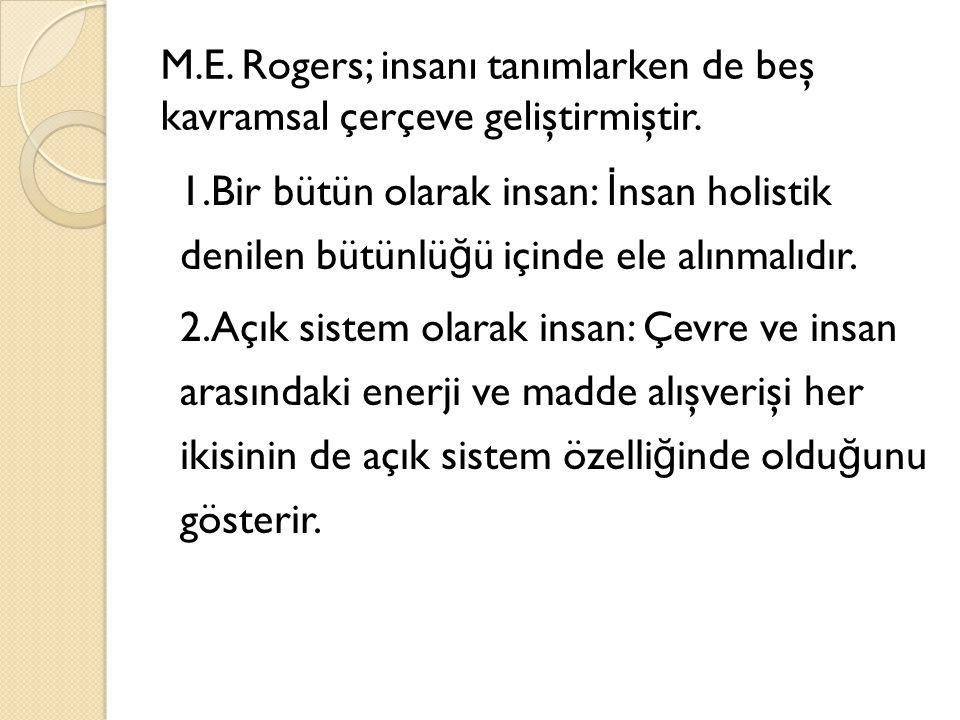 M.E. Rogers; insanı tanımlarken de beş kavramsal çerçeve geliştirmiştir.