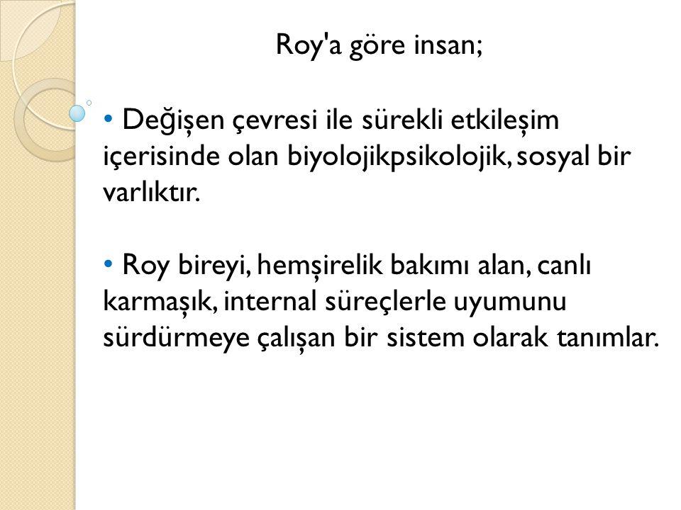 Roy a göre insan; Değişen çevresi ile sürekli etkileşim içerisinde olan biyolojikpsikolojik, sosyal bir varlıktır.