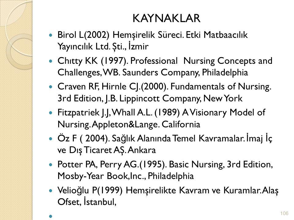 KAYNAKLAR Birol L(2002) Hemşirelik Süreci. Etki Matbaacılık Yayıncılık Ltd. Şti., İzmir.