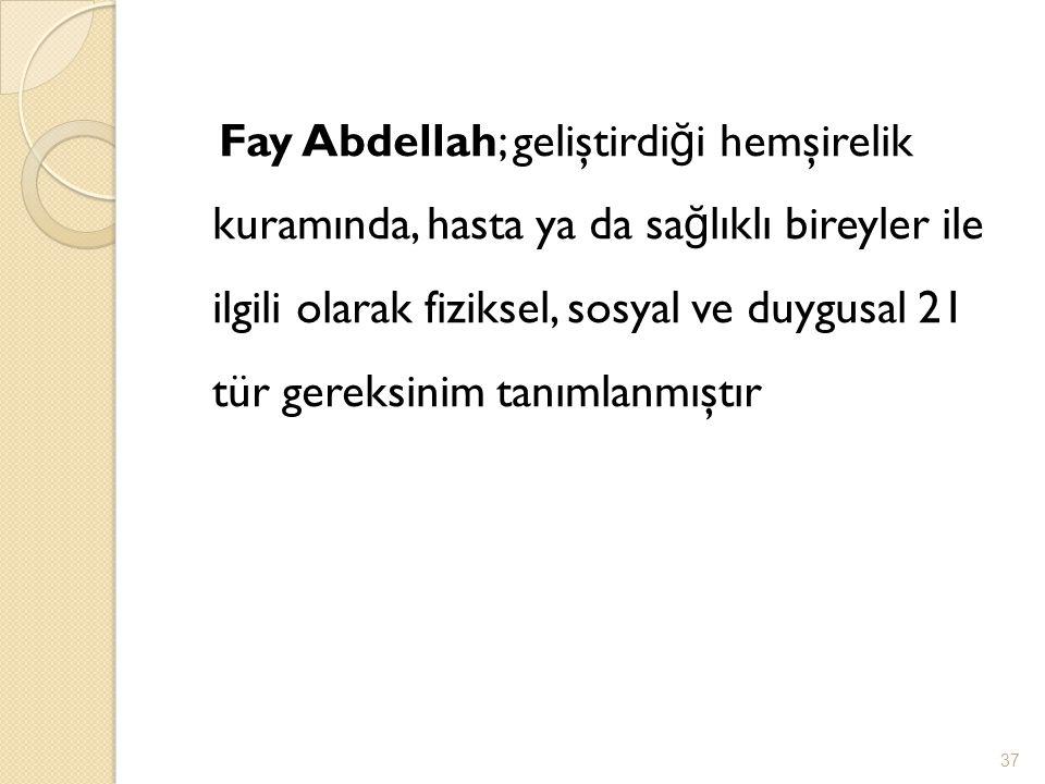 Fay Abdellah; geliştirdiği hemşirelik kuramında, hasta ya da sağlıklı bireyler ile ilgili olarak fiziksel, sosyal ve duygusal 21 tür gereksinim tanımlanmıştır