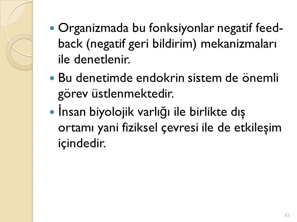 Organizmada bu fonksiyonlar negatif feed- back (negatif geri bildirim) mekanizmaları ile denetlenir.