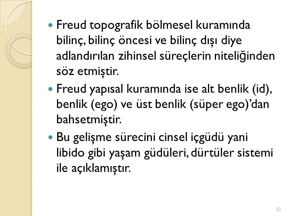 Freud topografik bölmesel kuramında bilinç, bilinç öncesi ve bilinç dışı diye adlandırılan zihinsel süreçlerin niteliğinden söz etmiştir.