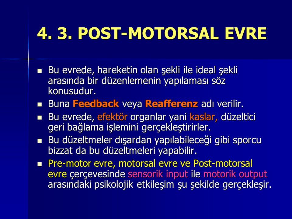 4. 3. POST-MOTORSAL EVRE Bu evrede, hareketin olan şekli ile ideal şekli arasında bir düzenlemenin yapılaması söz konusudur.