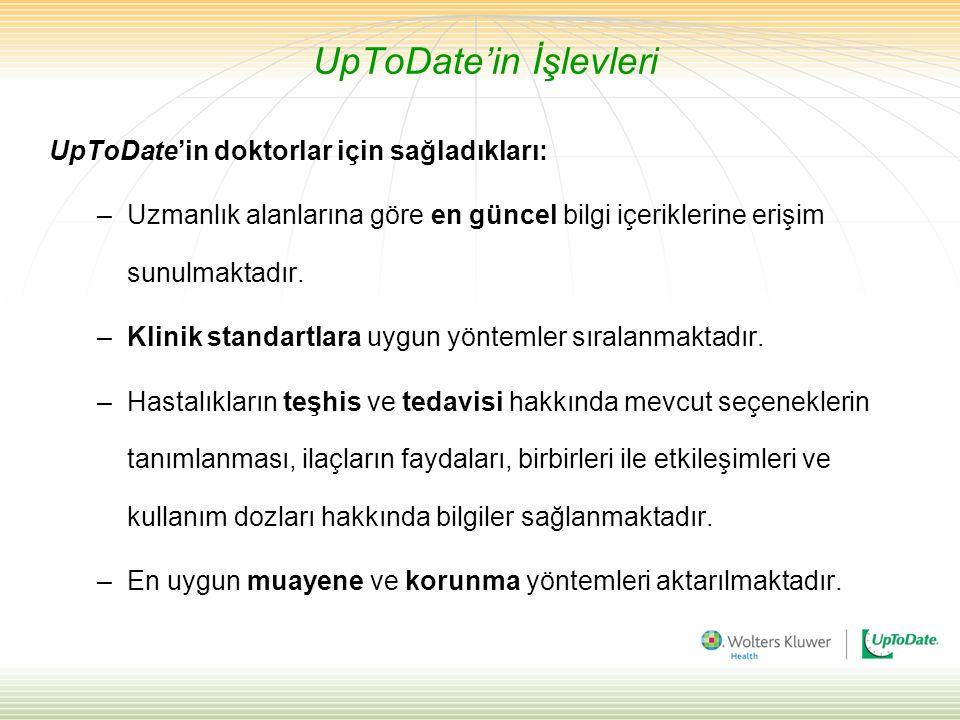 UpToDate'in İşlevleri