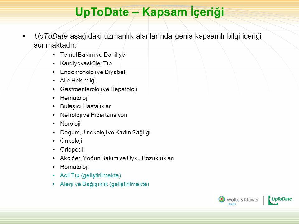 UpToDate – Kapsam İçeriği