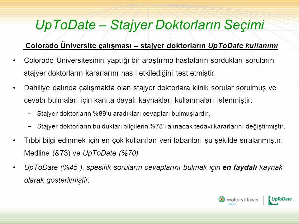 UpToDate – Stajyer Doktorların Seçimi