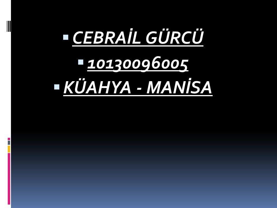CEBRAİL GÜRCÜ 10130096005 KÜAHYA - MANİSA