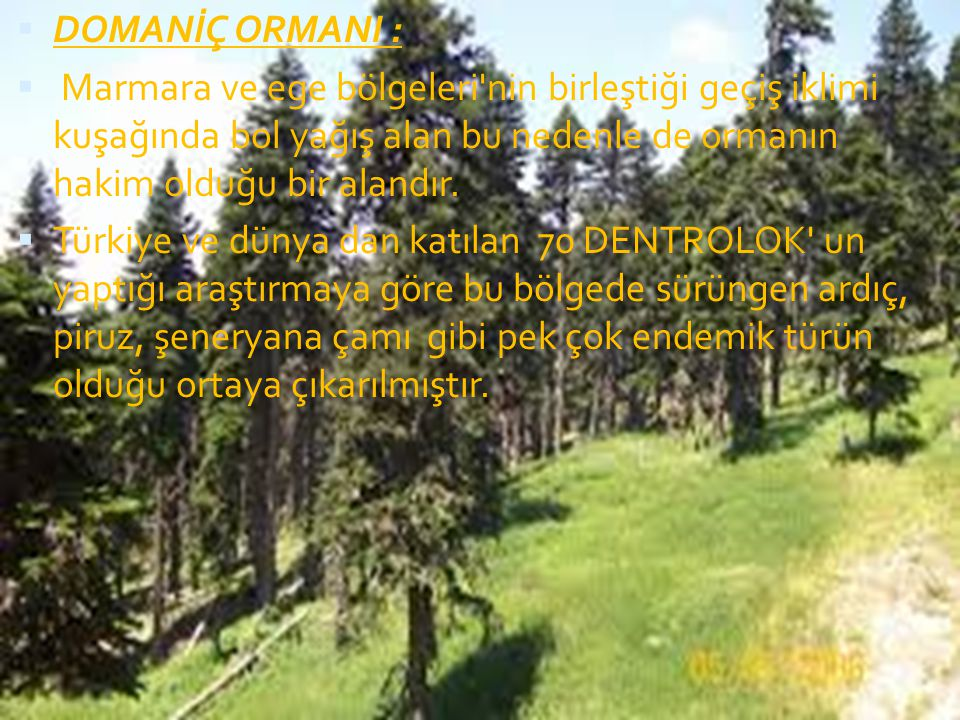 DOMANİÇ ORMANI : Marmara ve ege bölgeleri nin birleştiği geçiş iklimi kuşağında bol yağış alan bu nedenle de ormanın hakim olduğu bir alandır.