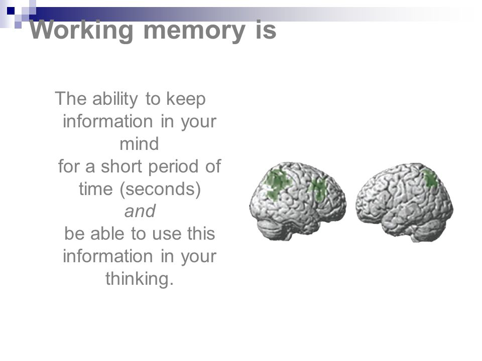 Working memory is