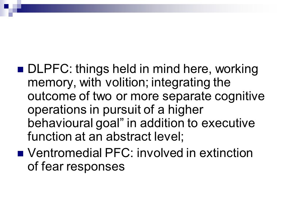 DLPFC: things held in mind here, working memory, with volition; integrating the outcome of two or more separate cognitive operations in pursuit of a higher behavioural goal in addition to executive function at an abstract level;