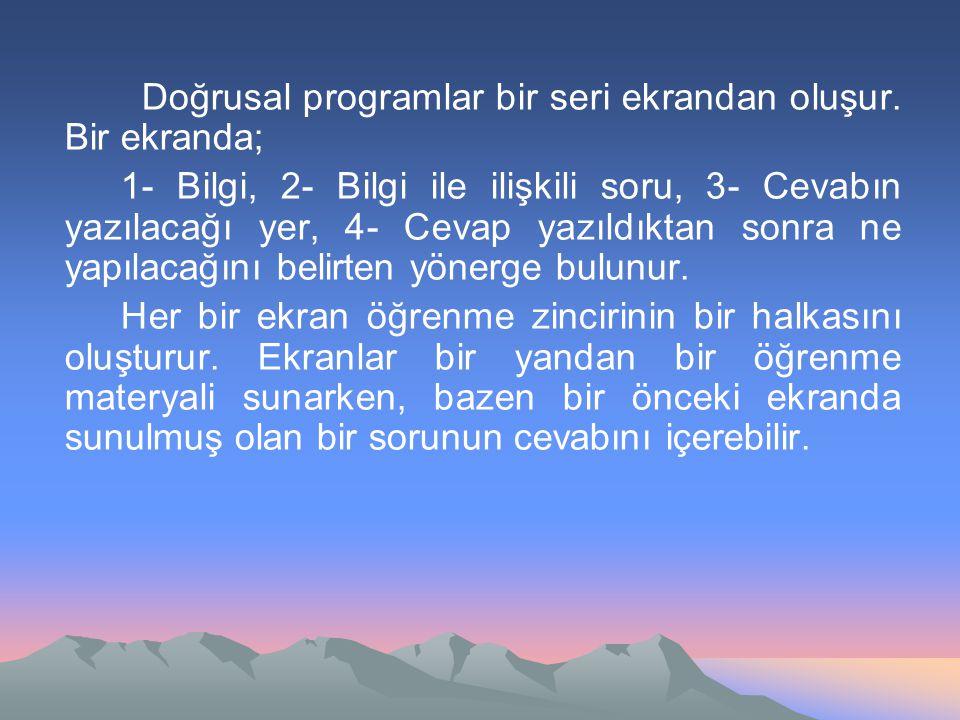 Doğrusal programlar bir seri ekrandan oluşur. Bir ekranda;