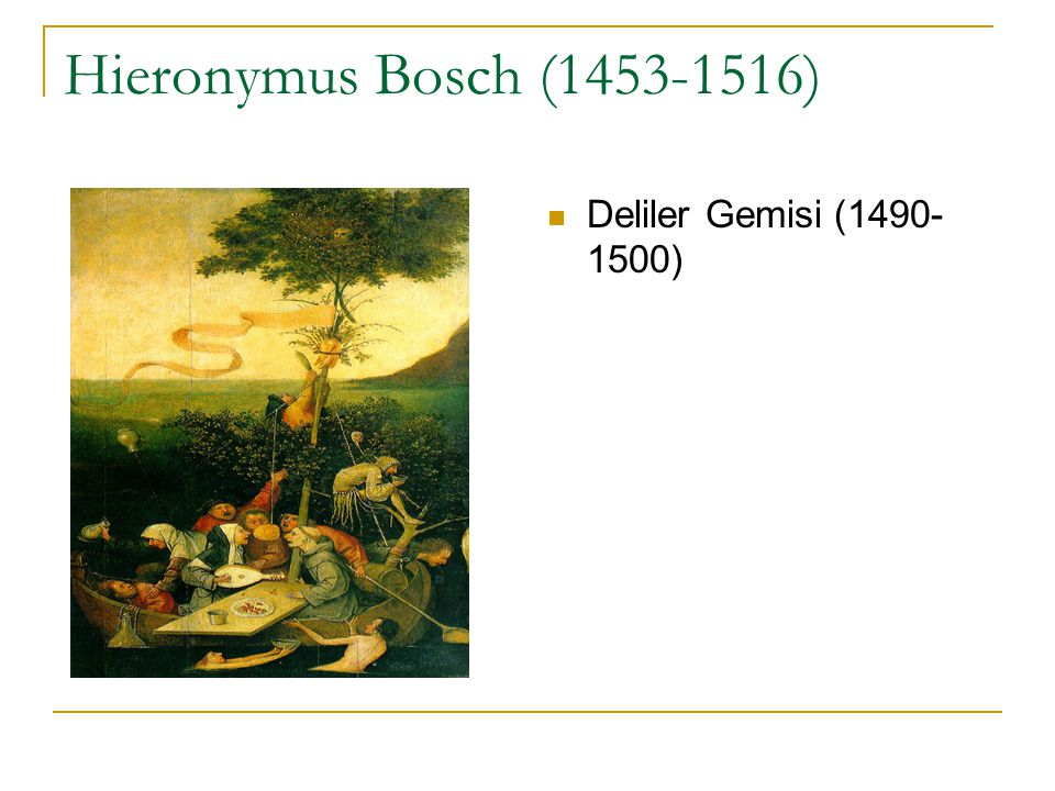 Hieronymus Bosch (1453-1516) Deliler Gemisi (1490-1500)