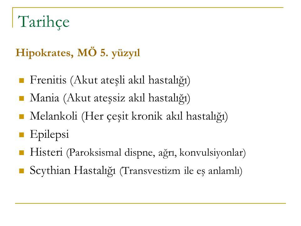 Tarihçe Frenitis (Akut ateşli akıl hastalığı)