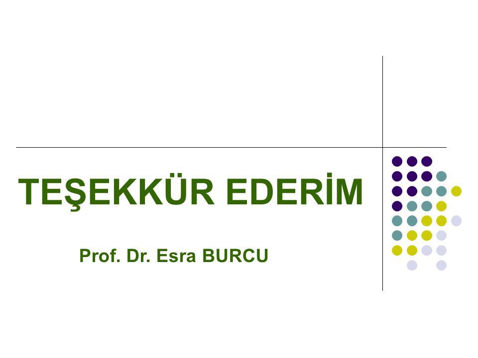 TEŞEKKÜR EDERİM Prof. Dr. Esra BURCU
