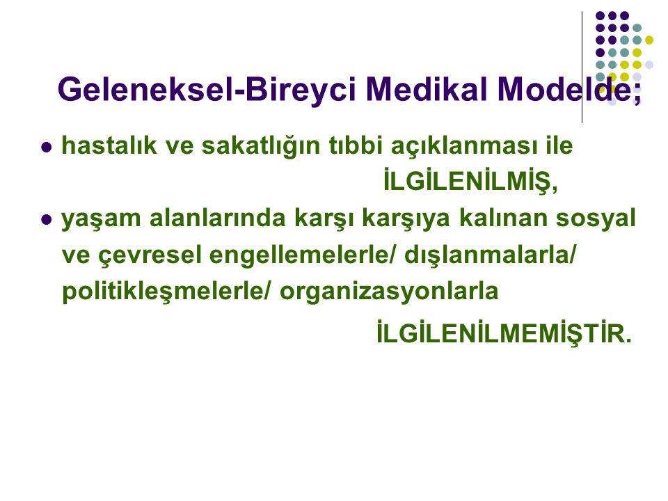 Geleneksel-Bireyci Medikal Modelde;