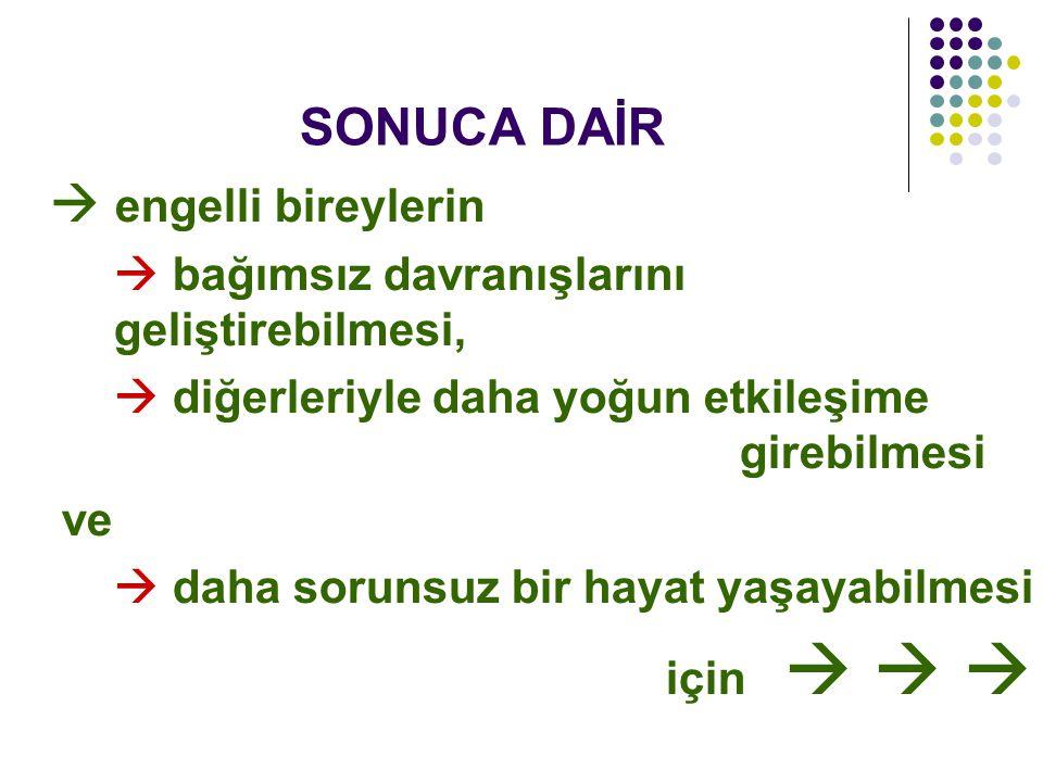 SONUCA DAİR  bağımsız davranışlarını geliştirebilmesi,