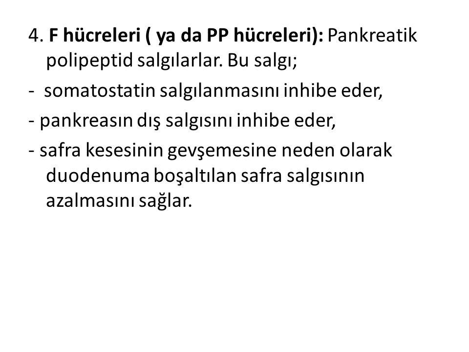 4. F hücreleri ( ya da PP hücreleri): Pankreatik polipeptid salgılarlar. Bu salgı;