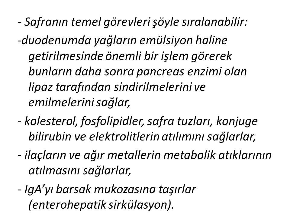 - Safranın temel görevleri şöyle sıralanabilir: