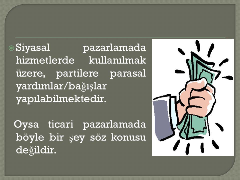 Siyasal pazarlamada hizmetlerde kullanılmak üzere, partilere parasal yardımlar/bağışlar yapılabilmektedir.