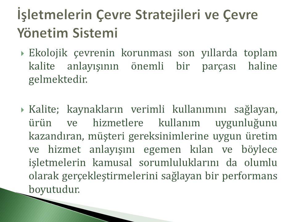 İşletmelerin Çevre Stratejileri ve Çevre Yönetim Sistemi
