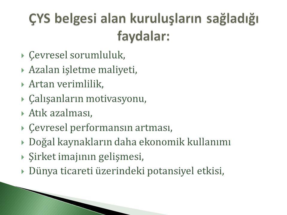 ÇYS belgesi alan kuruluşların sağladığı faydalar: