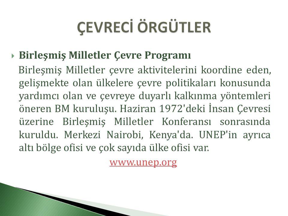 ÇEVRECİ ÖRGÜTLER Birleşmiş Milletler Çevre Programı