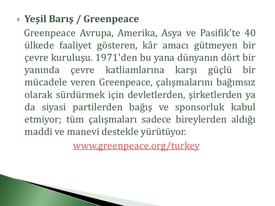Yeşil Barış / Greenpeace