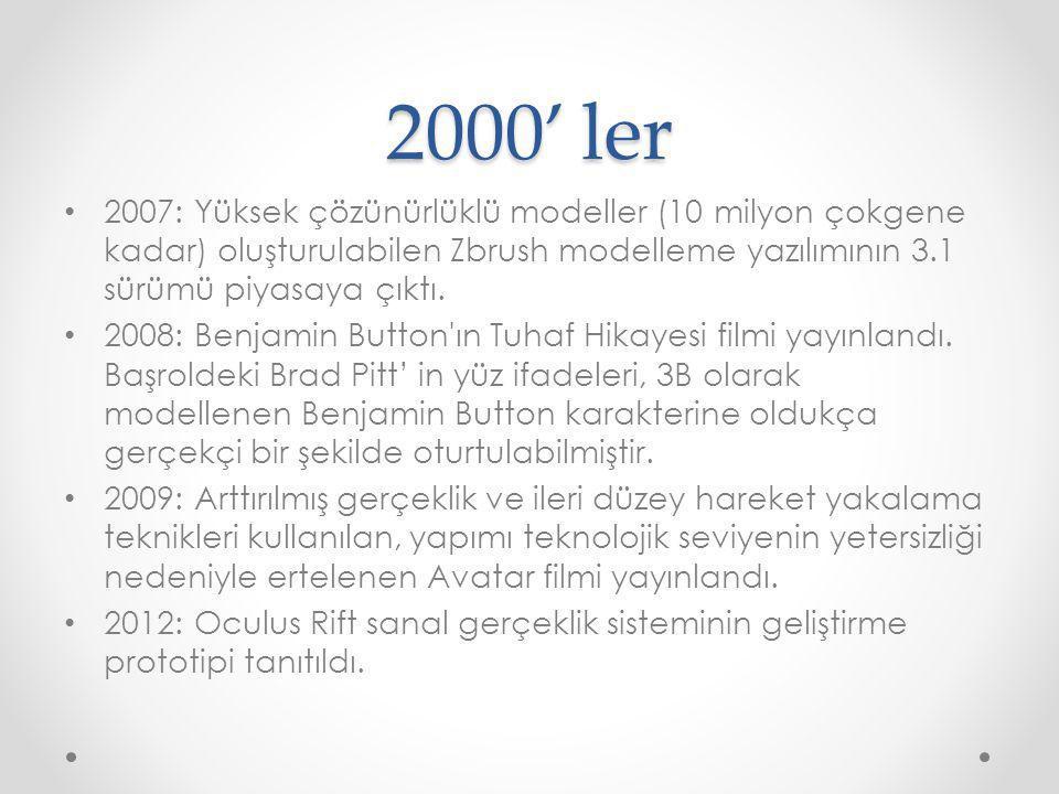 2000' ler 2007: Yüksek çözünürlüklü modeller (10 milyon çokgene kadar) oluşturulabilen Zbrush modelleme yazılımının 3.1 sürümü piyasaya çıktı.