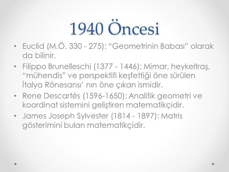 1940 Öncesi Euclid (M.Ö. 330 - 275): Geometrinin Babası olarak da bilinir.