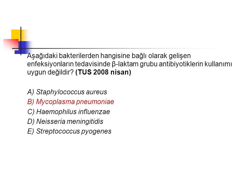 Aşağıdaki bakterilerden hangisine bağlı olarak gelişen enfeksiyonların tedavisinde β-laktam grubu antibiyotiklerin kullanımı uygun değildir (TUS 2008 nisan)