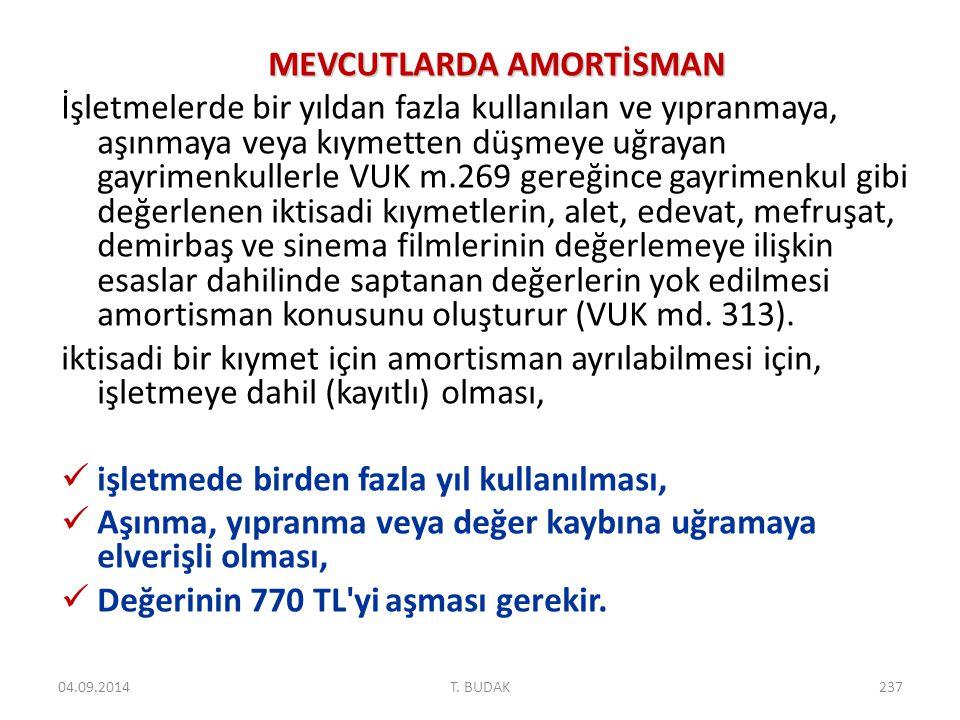 MEVCUTLARDA AMORTİSMAN
