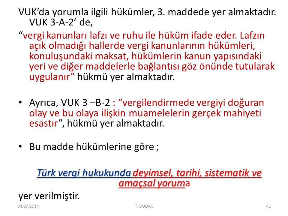 Türk vergi hukukunda deyimsel, tarihi, sistematik ve amaçsal yoruma