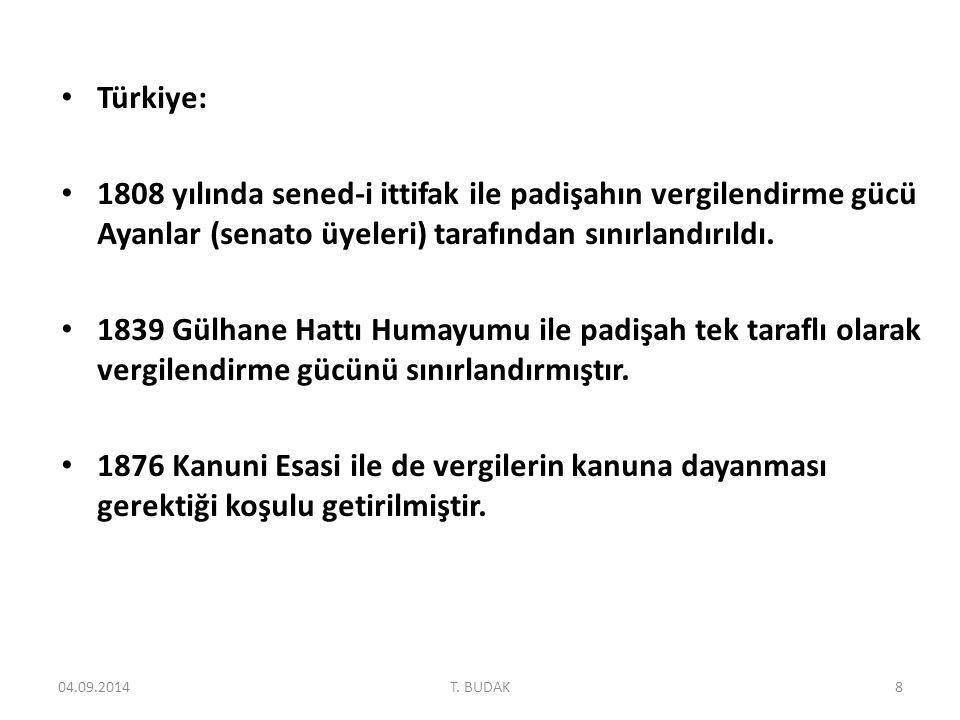 Türkiye: 1808 yılında sened-i ittifak ile padişahın vergilendirme gücü Ayanlar (senato üyeleri) tarafından sınırlandırıldı.