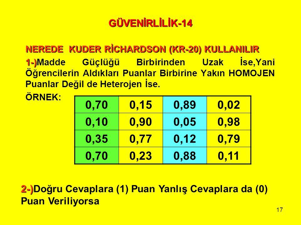 GÜVENİRLİLİK-14 NEREDE KUDER RİCHARDSON (KR-20) KULLANILIR.