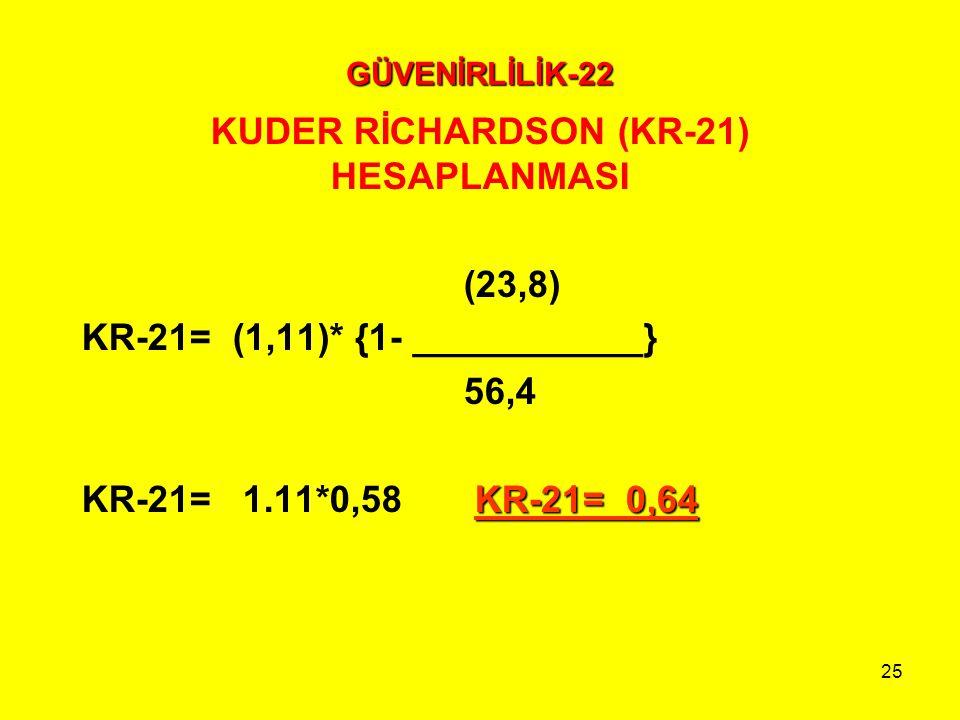 KUDER RİCHARDSON (KR-21) HESAPLANMASI