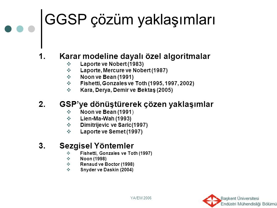 GGSP çözüm yaklaşımları