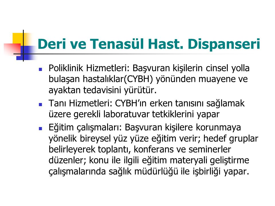 Deri ve Tenasül Hast. Dispanseri