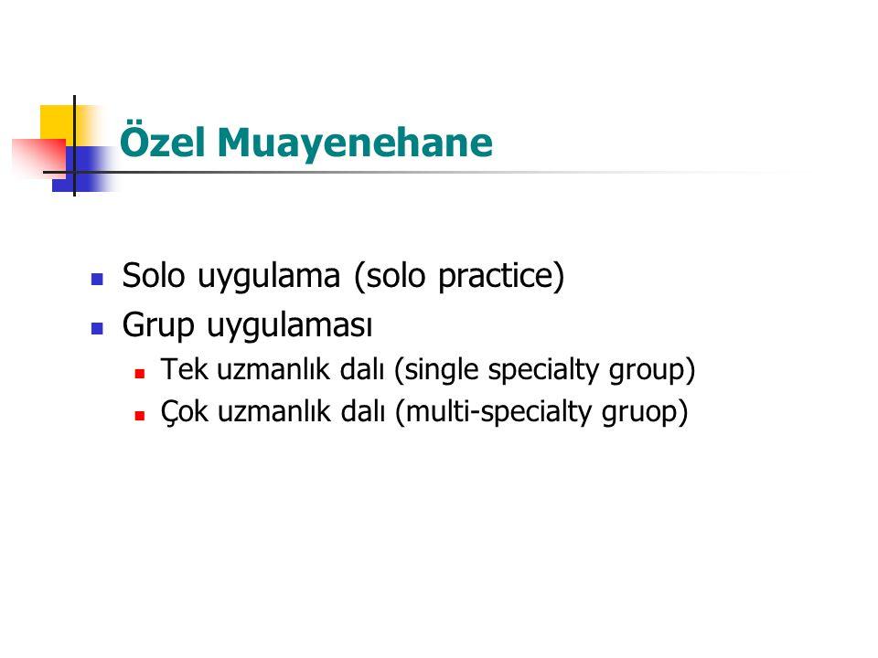 Özel Muayenehane Solo uygulama (solo practice) Grup uygulaması