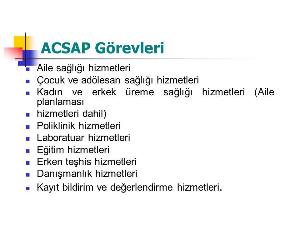 ACSAP Görevleri Aile sağlığı hizmetleri