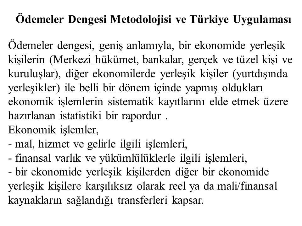 Ödemeler Dengesi Metodolojisi ve Türkiye Uygulaması