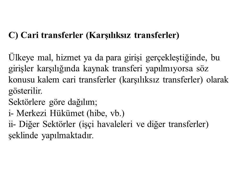 C) Cari transferler (Karşılıksız transferler)