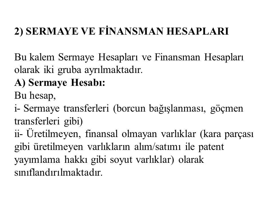 2) SERMAYE VE FİNANSMAN HESAPLARI