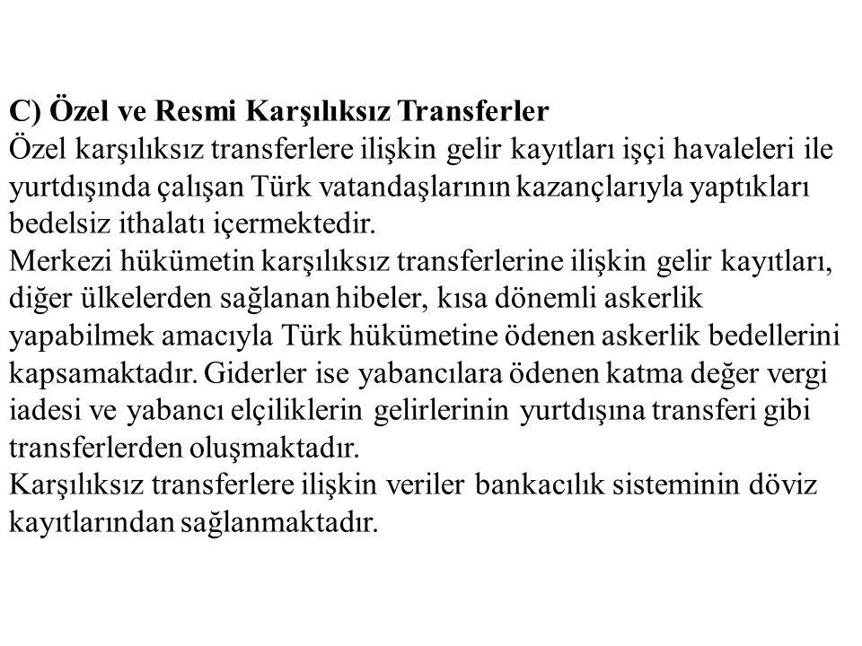 C) Özel ve Resmi Karşılıksız Transferler