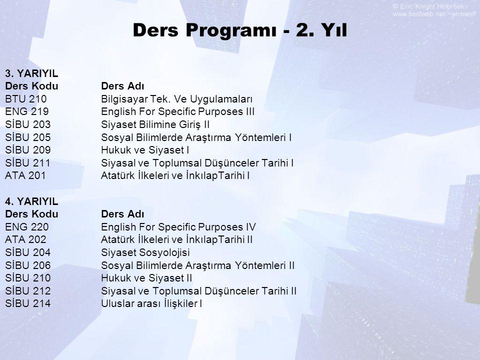 Ders Programı - 2. Yıl 3. YARIYIL Ders Kodu Ders Adı