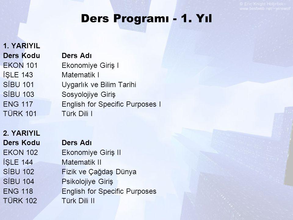 Ders Programı - 1. Yıl 1. YARIYIL Ders Kodu Ders Adı